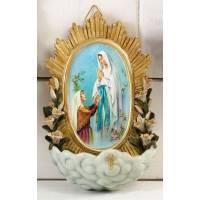 Wijwatervat 17 cm Lourdes Verschijning