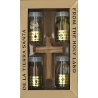 Set de 4 Flacons Saints Croix En Bois D olivier