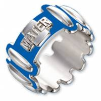Tientje/Ring 27 Mm Zilver Email/Blauw