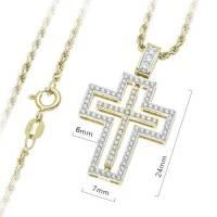 Croix Plaque Or Avec Zircons 24Mm + Chaine