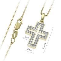 Croix Plaque Or Avec Zircons 17Mm + Chaine