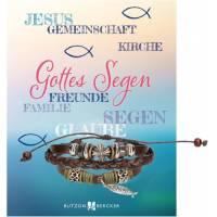 Bracelet - 6-8 cm - cuir tressé + poisson