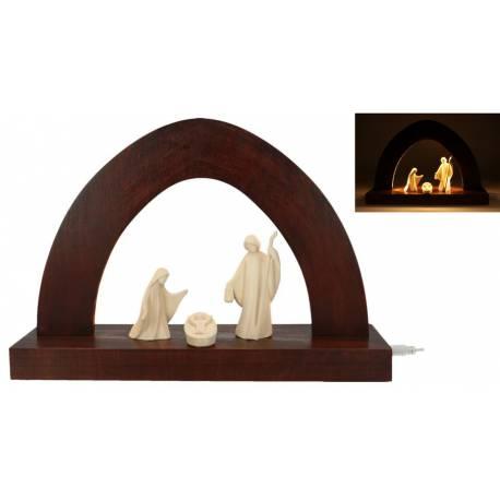 Houtsnijwerk Heilige Familie 10Cm + Kerststal