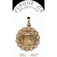 Médaille Plaqué-or Ronde dentelle Vierge