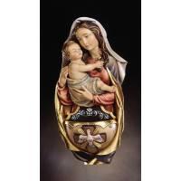 Bois Sculpté Benitier 20 Cm Vierge Et Enfant Couleur