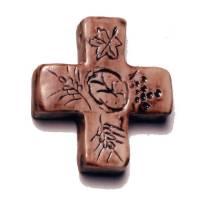 Croix céramique sur cordon 4.8 cm x 4.8 cm