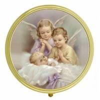 Boîte à Pilules - 2 Anges + Enfant - Diam 6 cm
