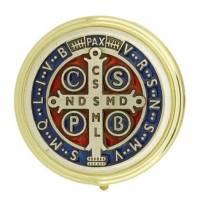 Pyxide Dorée Diam 50 mm - Croix St Benoît Email Multicolore