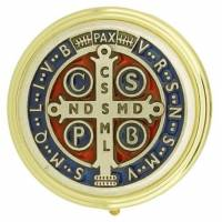 Pyxide Dorée Diam 60 mm - Croix St Benoît Email Multicolore