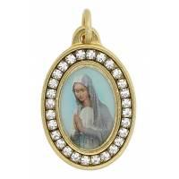 Medaille Ovale Vierge Priante + Strass