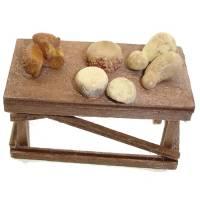 Santon Napolitain 08 Cm Table Avec Fromages 6X3x4cm