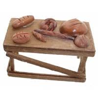 Santon Napolitain 08 Cm Table Avec Pains 6X3x4cm