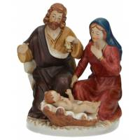 Nativité en porcelaine colorée de taille moyenne (14,5x11x10,5 cm)