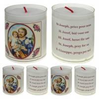 Set de 4 bougies - St Joseph - texte 5 langues