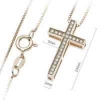 Croix argent cuivré avec zircons et chaîne