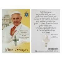 Carte-Croix-Priere Fr - Pape Francois 10 X 15.5 Cm