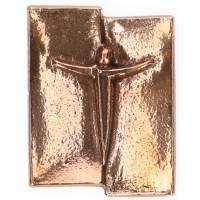 Plaque Murale 5,5 X 4,5 Cm Christ Bronze