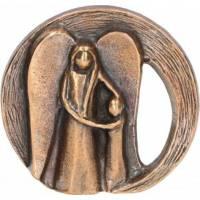 Beeld 6.5 X 6 Cm Bronze - Ange Gardien + 1 Enfant