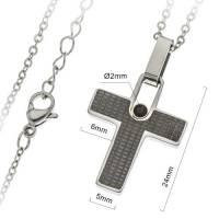 Croix 24 mm avec zircon et chaîne acier inoxydable
