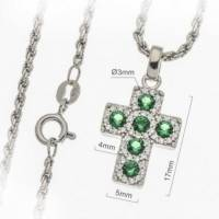 Croix 17 mm argent rhodié avec zircons verts et chaîne