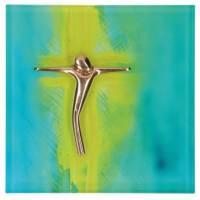 Plaque en verre 13.5 x 13.5 cm Croix en bronze