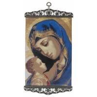 Icône - Tissu 20 X 38 cm - Vierge et Enfant
