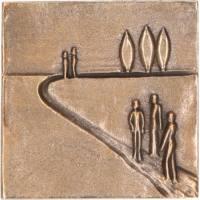 """Plaque Murale - 7.5 X 7.5 cm - """"Sur la route"""" - Bronze"""