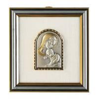 Cadre 12 X 11 Cm Vierge Et Enfant Plaque En Argent