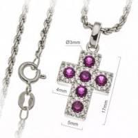 Croix 17 mm argent rhodié avec zircons violets et chaîne