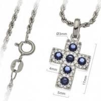 Croix 17 mm argent rhodié avec zircons bleus et chaîne