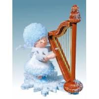Flocon De Neige-Bois 7 Cm Avec Harpe