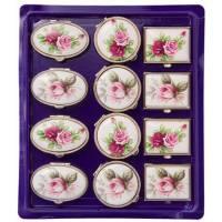 Boîte à pilules Roses/Fond Blanc Ov35x30-R30-Rh30x25 H16mm