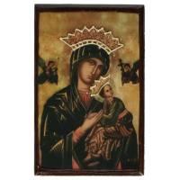 Icone Patinee De La Vierge Du Perpetuel Secours