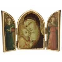 Tryptique Arrondi Vierge Pietrp Di Menci