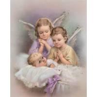 """Poster 20 X 25 Cm 2 Anges + Enfant """"or"""""""