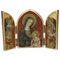 Tryptique Arondi Vierge Des Anges 22 Cm X 15 Cm