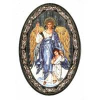 Icone 12 X 18 Cm    Ange Gardien                 Ovale